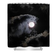 Super Moon Held In The Arc Of Clouds Shower Curtain