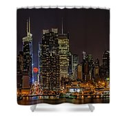 Super Moon Rising Shower Curtain by Susan Candelario