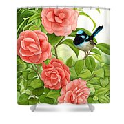 Superb Wren And Camellia Shower Curtain