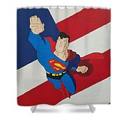 Superman And The Flag Shower Curtain