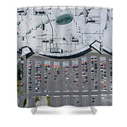 Supermarket Roof And Many Cars In Parking, Viewed From Above. Shower Curtain