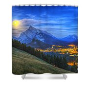 Supermoon Rising Over Mount Rundle Shower Curtain