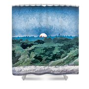 Supermoon Rising - Painted Effect Shower Curtain