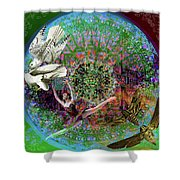 Superstar Electromagnetic Starchild Shower Curtain by Joseph Mosley