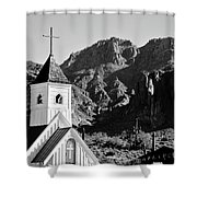 Superstition Mountain And Elvis Church Shower Curtain
