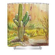 Superstition Saguaro Shower Curtain