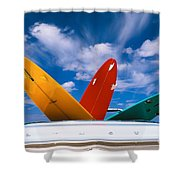 Surboards In A Plymouth Shower Curtain by Dana Edmunds - Printscapes