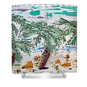 Surf And Palms Shower Curtain