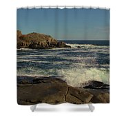 Surf At Nubble Light Shower Curtain