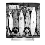 Surf Board Fence Maui Hawaii Square Format Shower Curtain