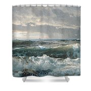 Surf On The Rocks Shower Curtain