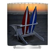 Surfboard Chair Sunset Shower Curtain
