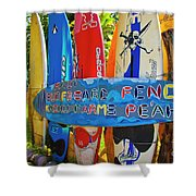 Surfboard Fence-the Amazing Race  Shower Curtain