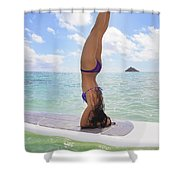 Surfboard Headstand Shower Curtain by Tomas del Amo - Printscapes