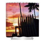Surfboard Sunset Shower Curtain