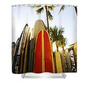 Surfboards At Waikiki Shower Curtain