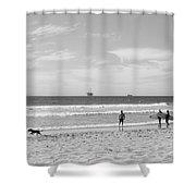 Strollin On Dog Beach Shower Curtain