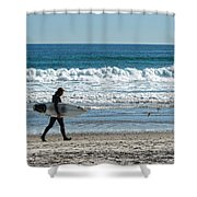 Surfer And His Board Shower Curtain