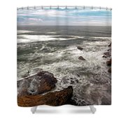 Surfer At Cape Kiwanda In Pacific City Shower Curtain