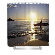 Surfer At Sunrise Shower Curtain by Ali ONeal - Printscapes