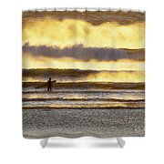 Surfer Faces Wind And Waves, Morro Bay, Ca Shower Curtain