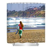 Surfer Girl At Seaside, Ca Shower Curtain