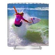 Surfer Girl Taking Flight Shower Curtain