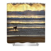 Surfer Heads Into The Waves And Mist Shower Curtain