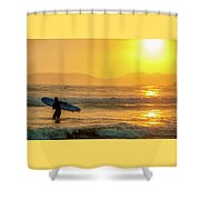 Surfer In The Golden Ocean Shower Curtain