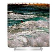 Surfer On Surf, Sunset Beach Shower Curtain