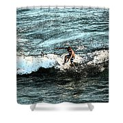 Surfer On Wave Shower Curtain
