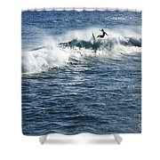 Surfer Riding A Wave Shower Curtain by Brandon Tabiolo - Printscapes