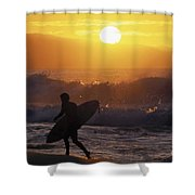 Surfer Walking At Sunset Shower Curtain
