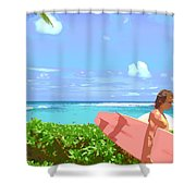 Surfer Walking By Shower Curtain
