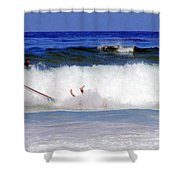 Surfers At Asilomar State Beach Three Oopsy Daisy Shower Curtain