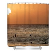 Surfers At Sunset Shower Curtain