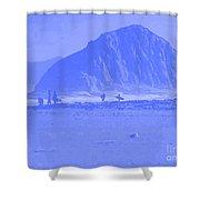 Surfers On Morro Rock Beach In Blue Shower Curtain