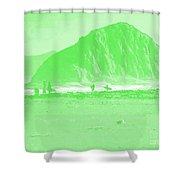 Surfers On Morro Rock Beach In Green Shower Curtain