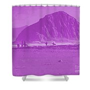 Surfers On Morro Rock Beach In Purple Shower Curtain