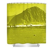 Surfers On Morro Rock Beach In Yellow Shower Curtain