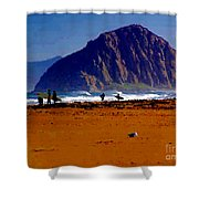 Surfers On Morro Rock Beach Shower Curtain