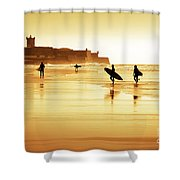 Surfers Silhouettes Shower Curtain by Carlos Caetano