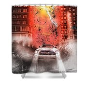 Surfing 5th Avenue Shower Curtain by Barry C Donovan
