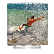 Surfing Action  Shower Curtain
