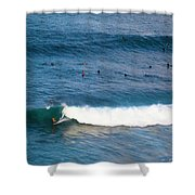 Surfing At Honolua Bay Shower Curtain
