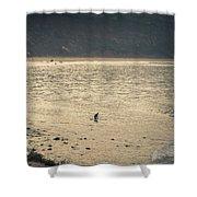 Surfing At Leo Carrillo Beach Shower Curtain