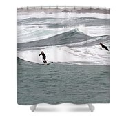 Surfing At Sennen Cove Cornwall Shower Curtain