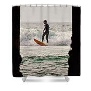Surfing By The Pier Shower Curtain