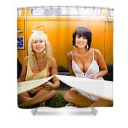 Surfing Holiday Shower Curtain