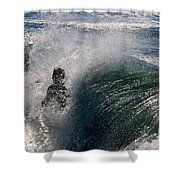 Surfing Into The Sun Shower Curtain
